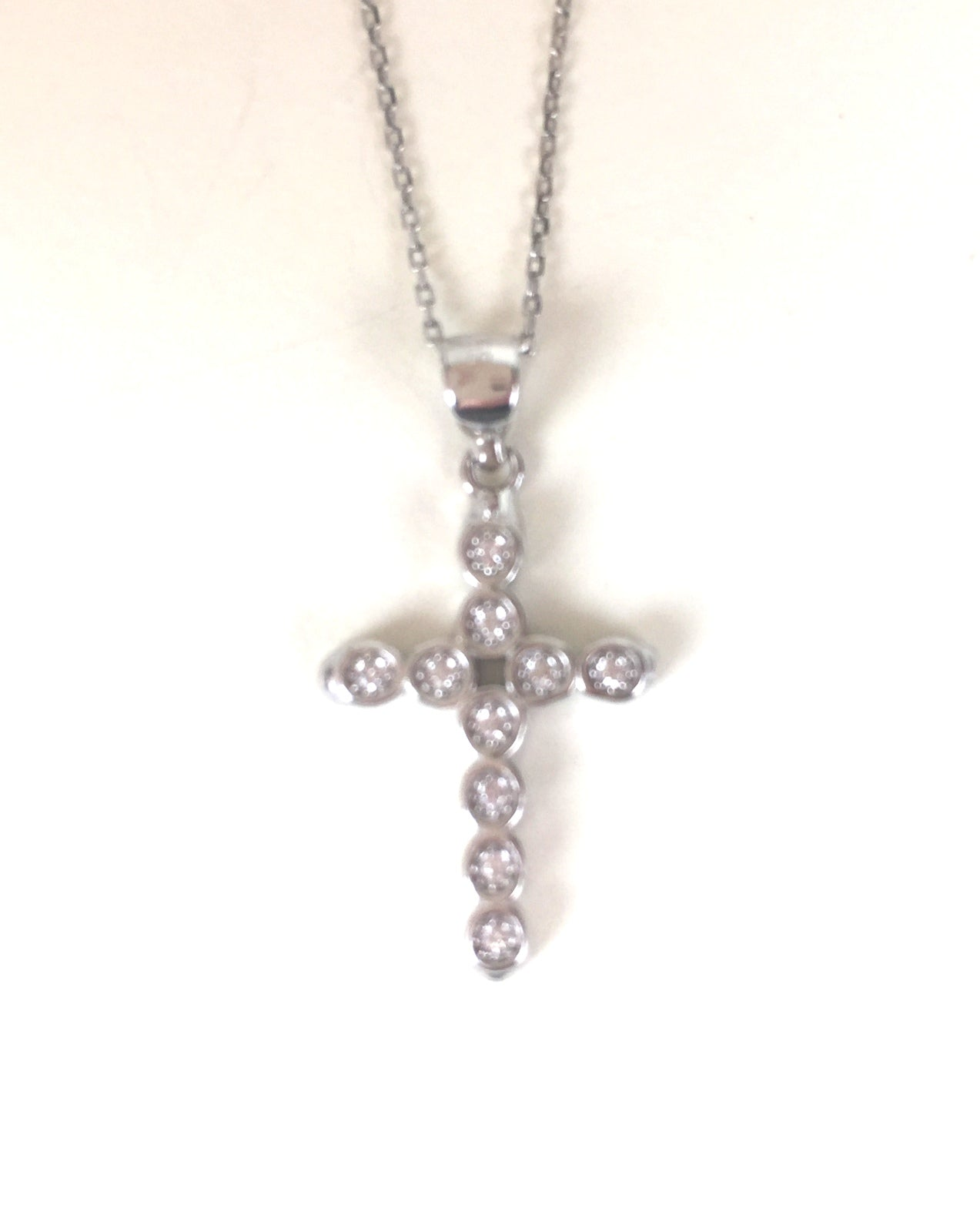 CROSS 2 PAVE CZ STERLING SILVER NECKLACE