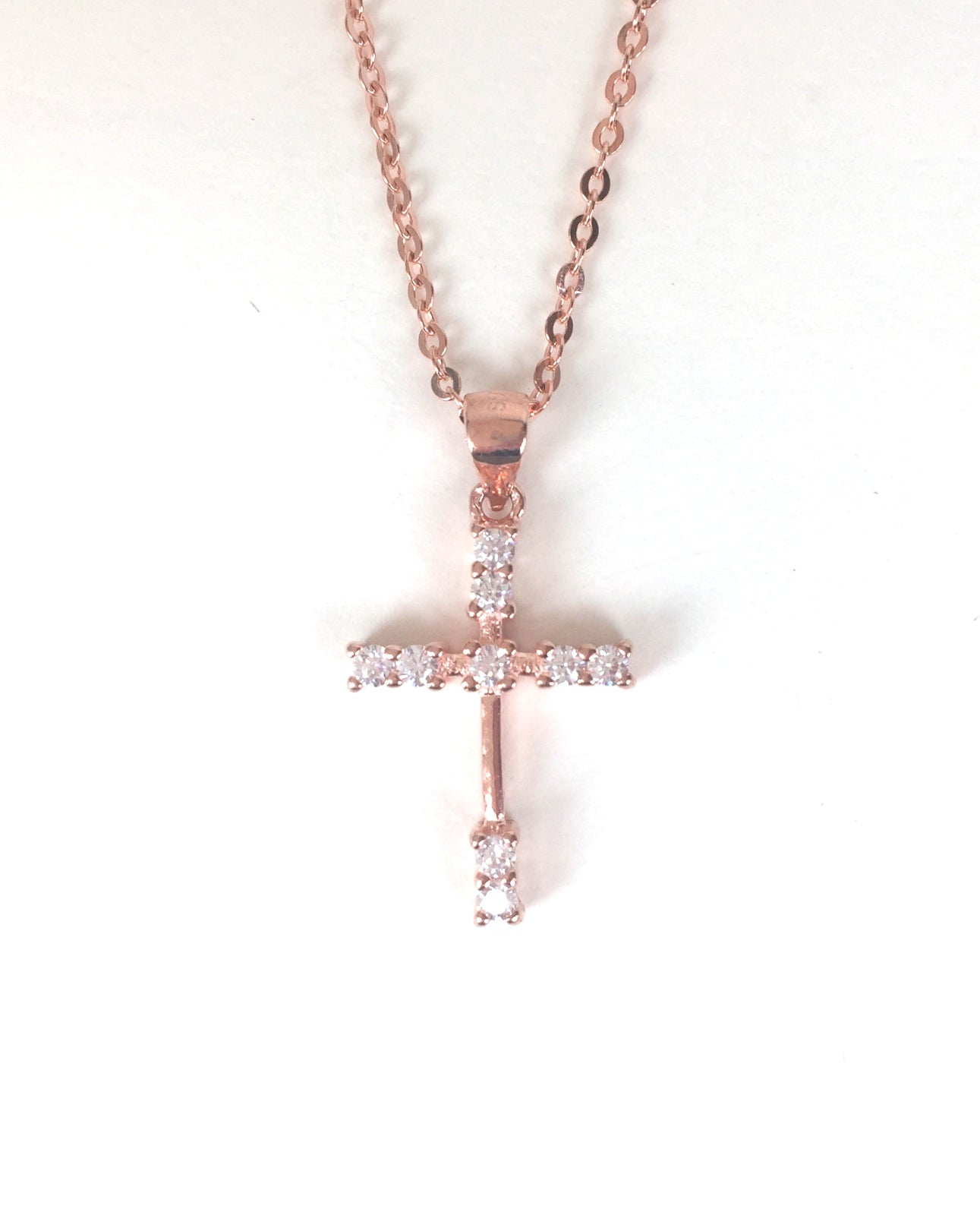 ROSE GOLD CROSS PAVE CZ STERLING SILVER NECKLACE