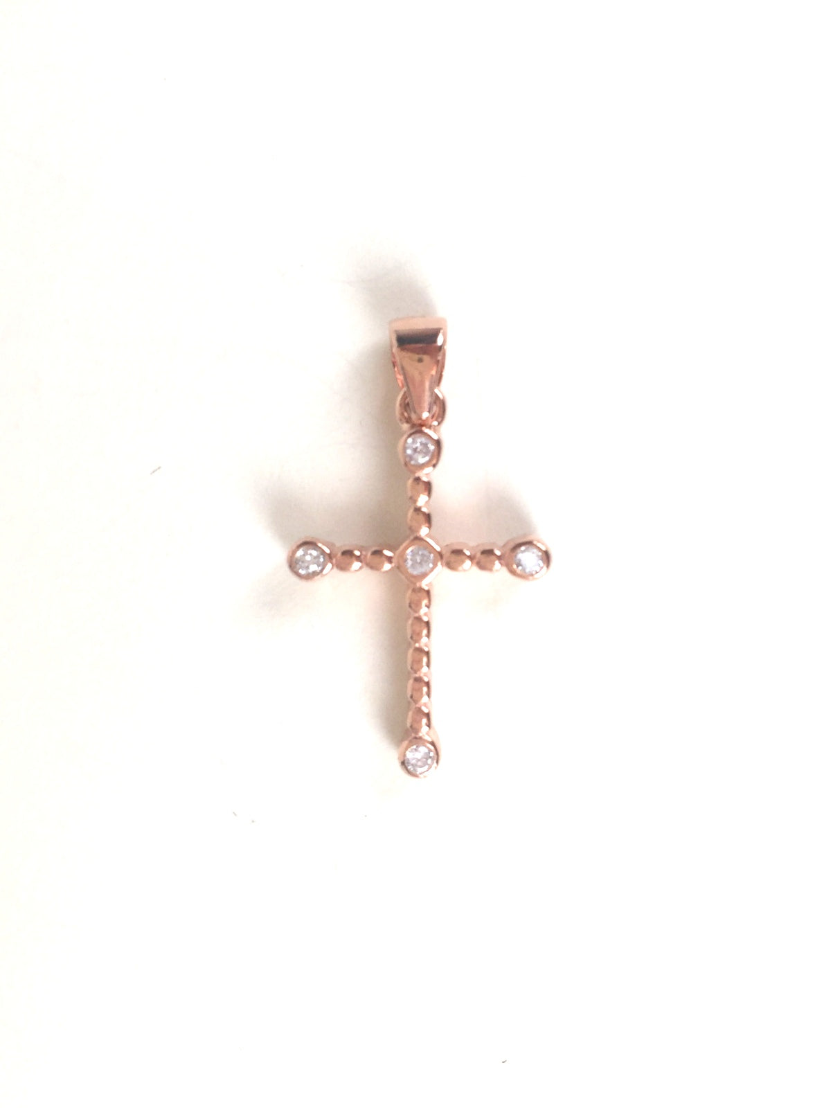 ROSE GOLD CROSS PAVE CZ STERLING SILVER PENDANT