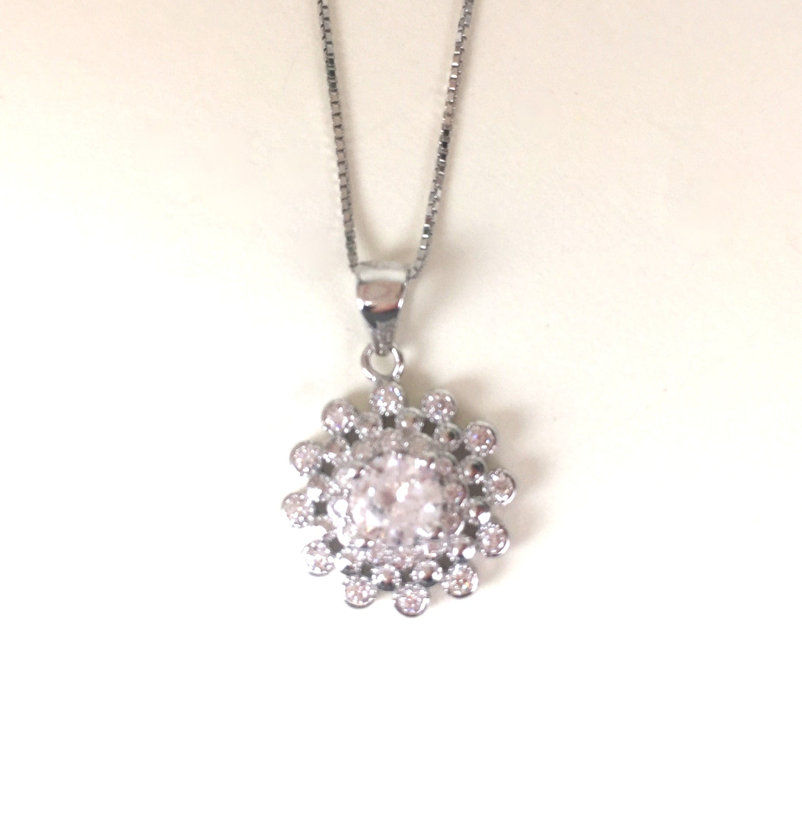 SPARKLING FLOWER PAVE CZ STERLING SILVER NECKLACE