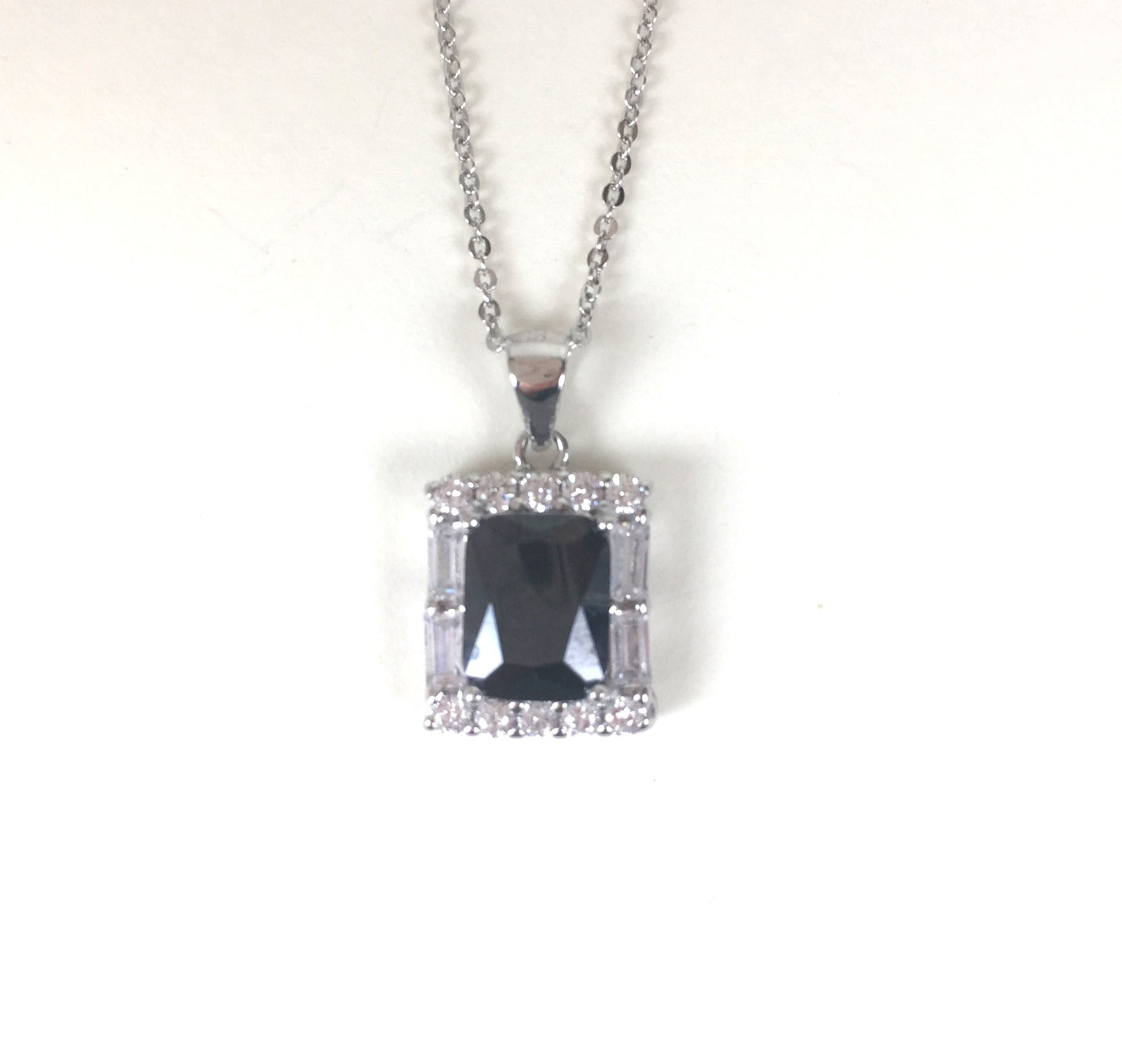 CRYSTAL RECTANGULAR PAVE CZ STERLING SILVER NECKLACE