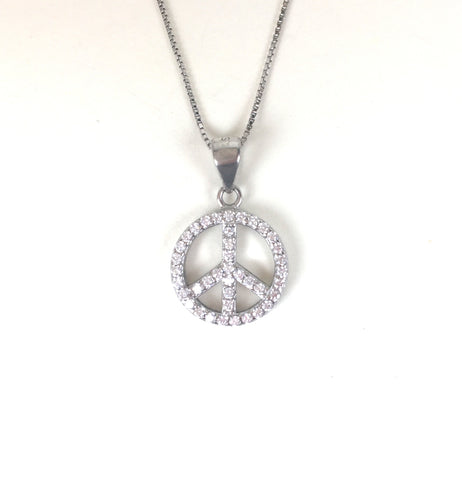 PEACE PAVE CZ STERLING SILVER NECKLACE