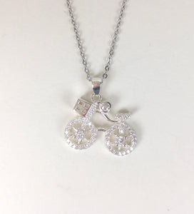 BICYCLE PAVE CZ STERLING SILVER NECKLACE