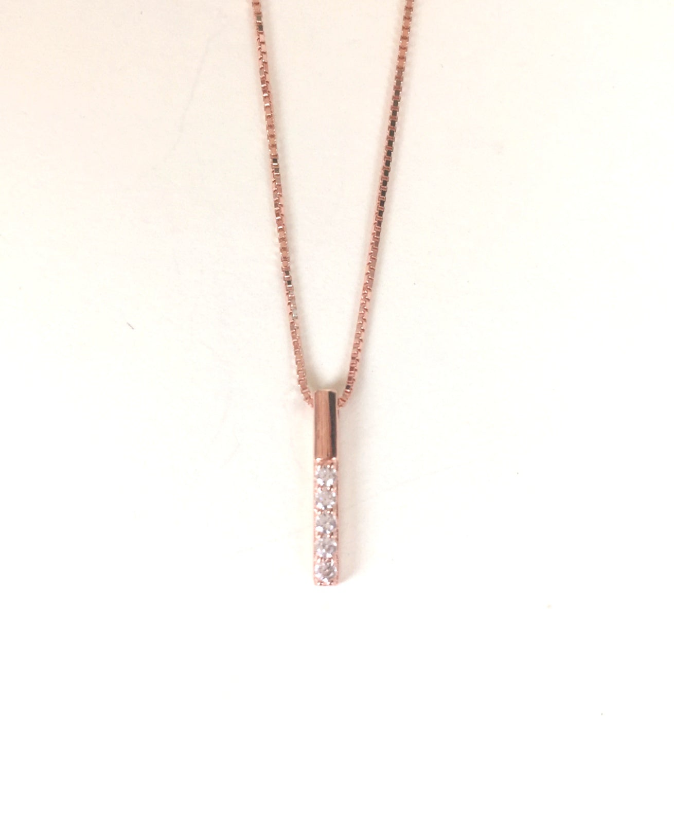 ROSE GOLD BAR PAVE CZ STERLING SILVER NECKLACE