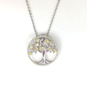 SPARKLING TWO TONE TREE OF LIFE PAVE CZ STERLING SILVER NECKLACE