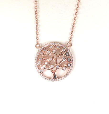 ROSE GOLD TREE OF LIFE PAVE CZ STERLING SILVER NECKLACE