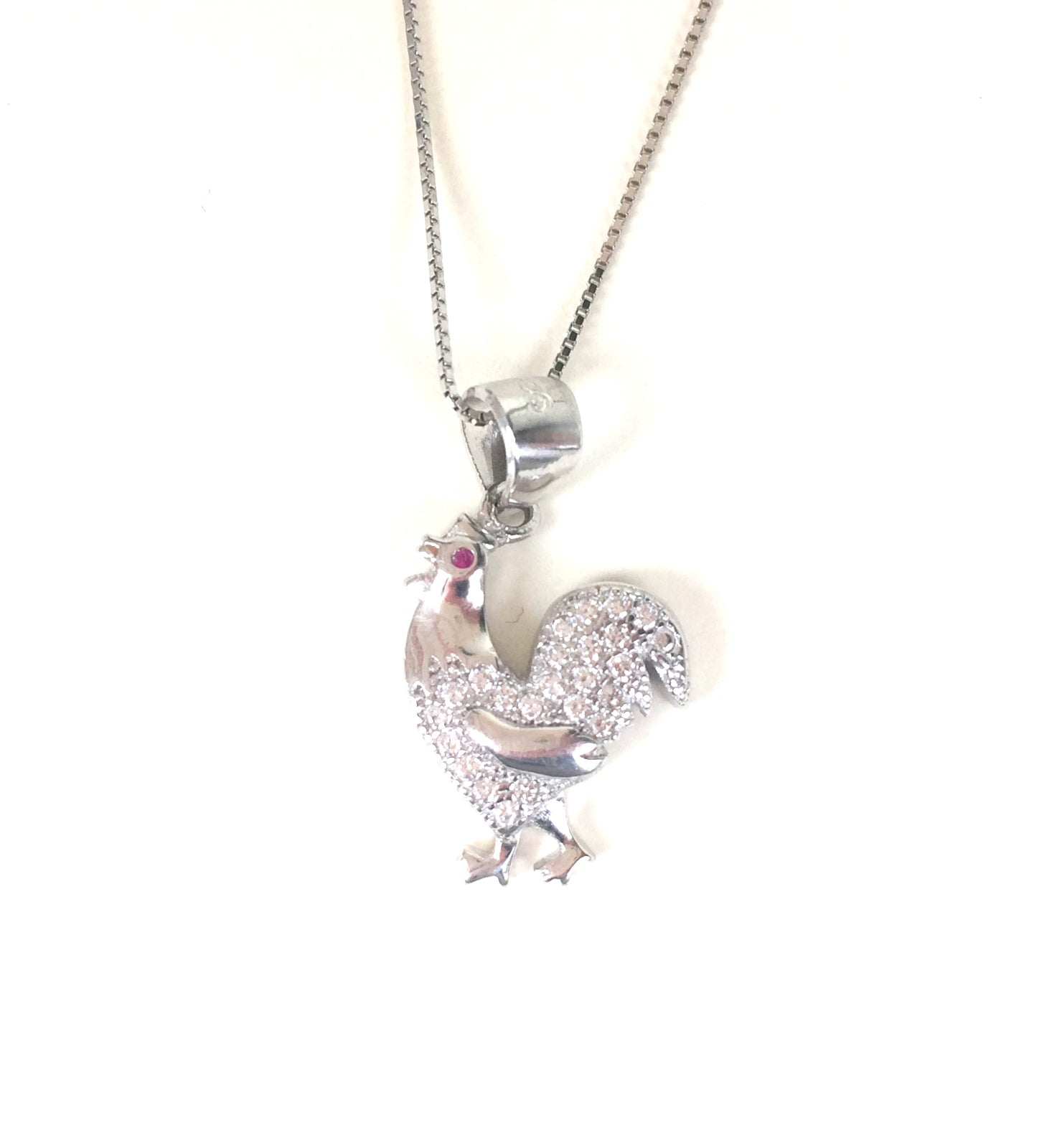 ROOSTER PAVE CZ STERLING SILVER NECKLACE