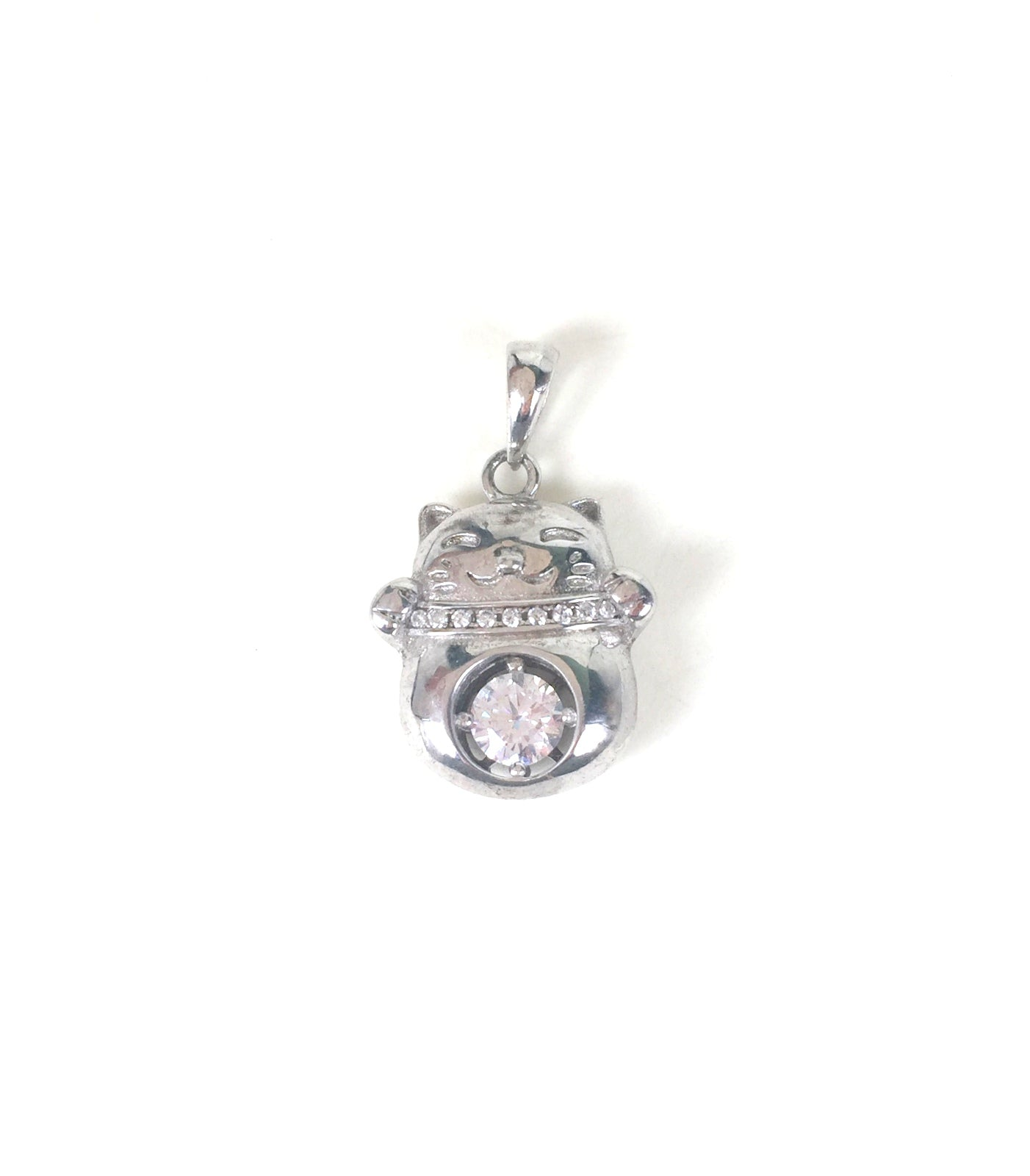 FORTUNE CAT PAVE CZ STERLING SILVER PENDANT