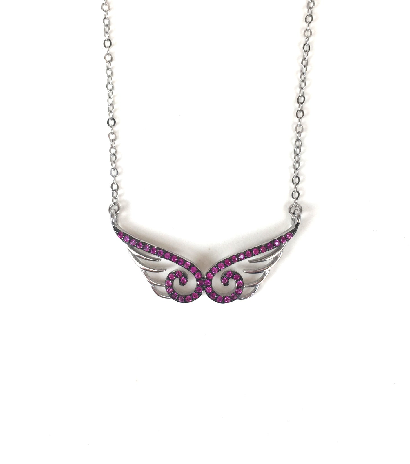 WINGS PAVE CZ STERLING SILVER NECKLACE