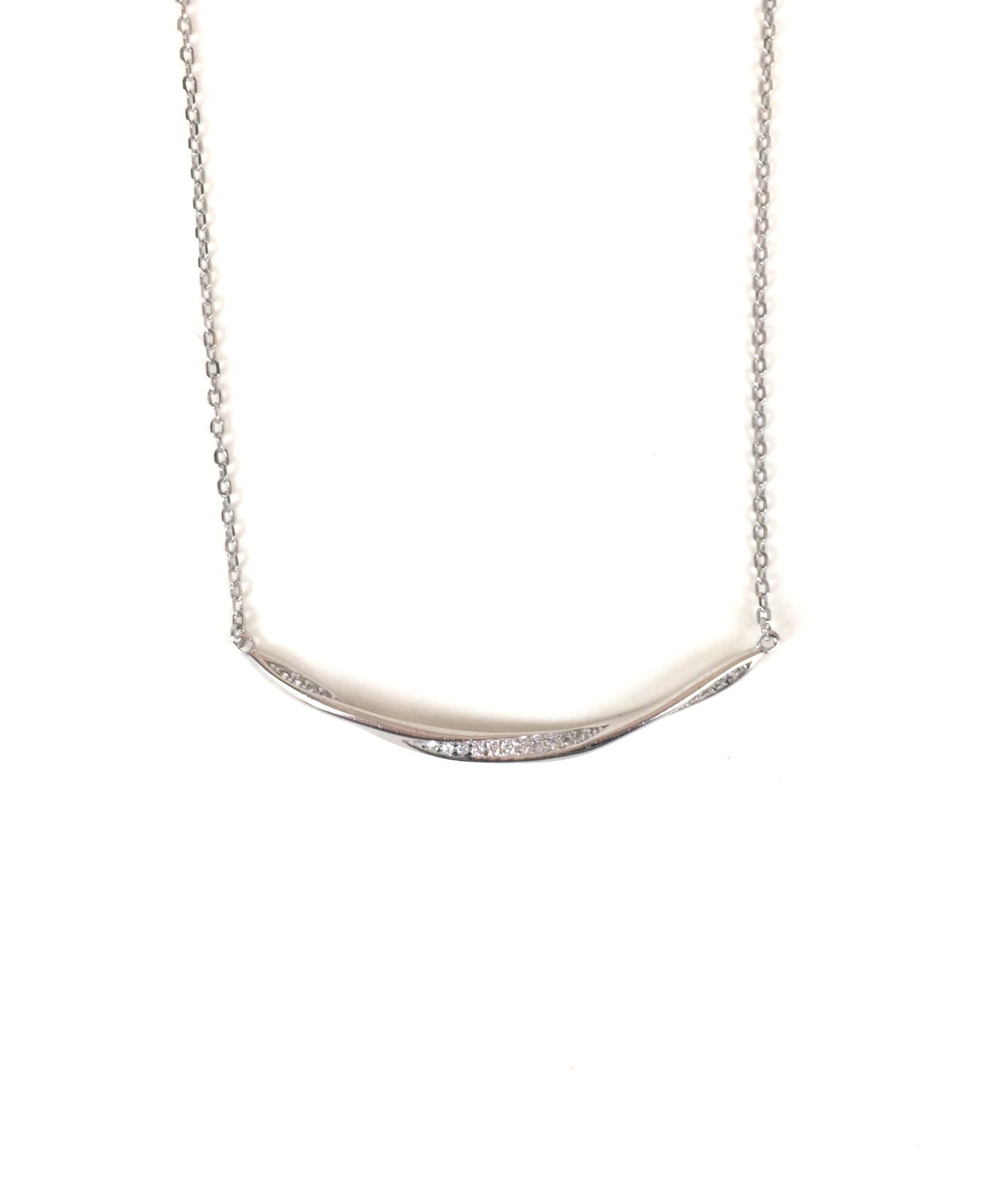 TWIST CURVE BAR PAVE CZ STERLING SILVER NECKLACE