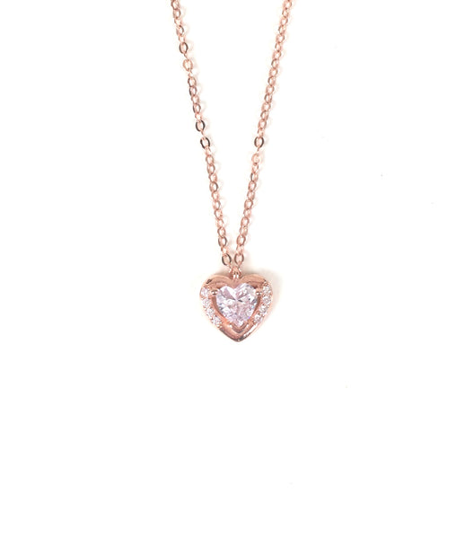 SMALL HEART PAVE CZ STERLING SILVER NECKLACE