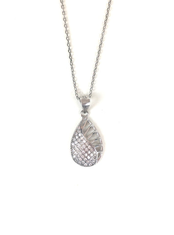 PEAR SHAPE PAVE CZ STERLING SILVER NECKLACE