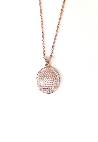 OVAL SHAPE PAVE CZ STERLING SILVER NECKLACE