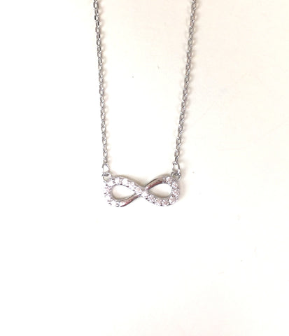 SMALL INFINITY PAVE CZ STERLING SILVER NECKLACE