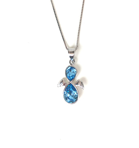 ANGEL BLUE CRYSTAL STERLING SILVER NECKLACE