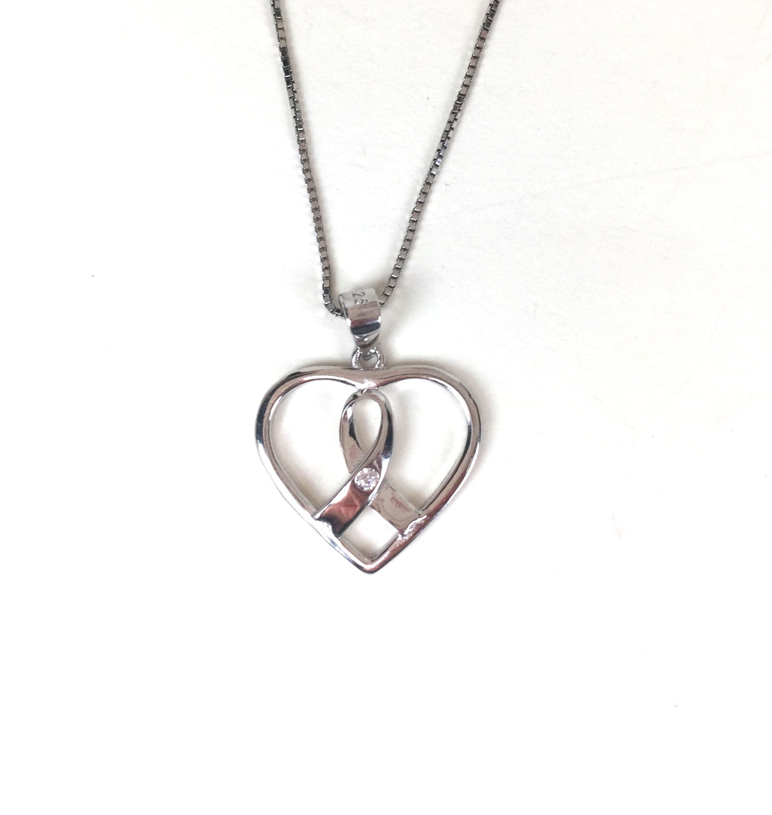 CANCER RIBBON IN HEART STERLING SILVER NECKLACE