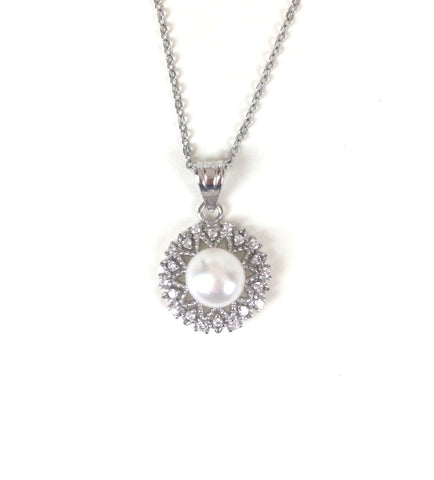 PEARL PAVE CZ STERLING SILVER NECKLACE