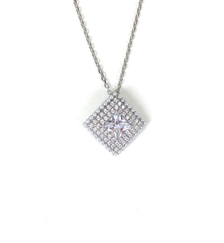 SPARKLING SQUARE PAVE CZ STERLING SILVER NECKLACE