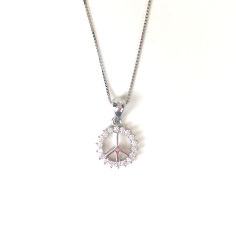 SMALL PEACE SIGN PAVE CZ STERLING SILVER NECKLACE