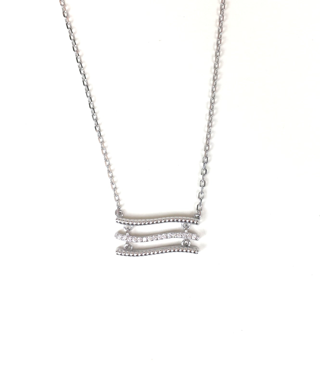 WAVING BARS PAVE CZ STERLING SILVER NECKLACE