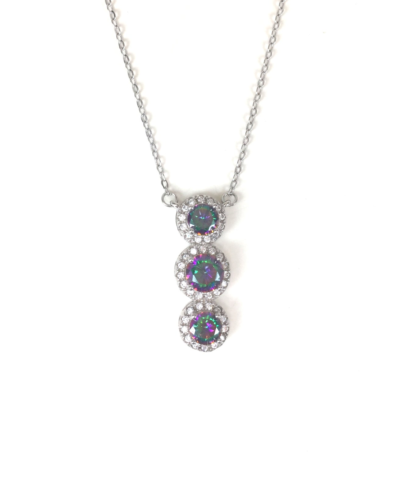 VERTICAL STONES PAVE CZ STERLING SILVER NECKLACE