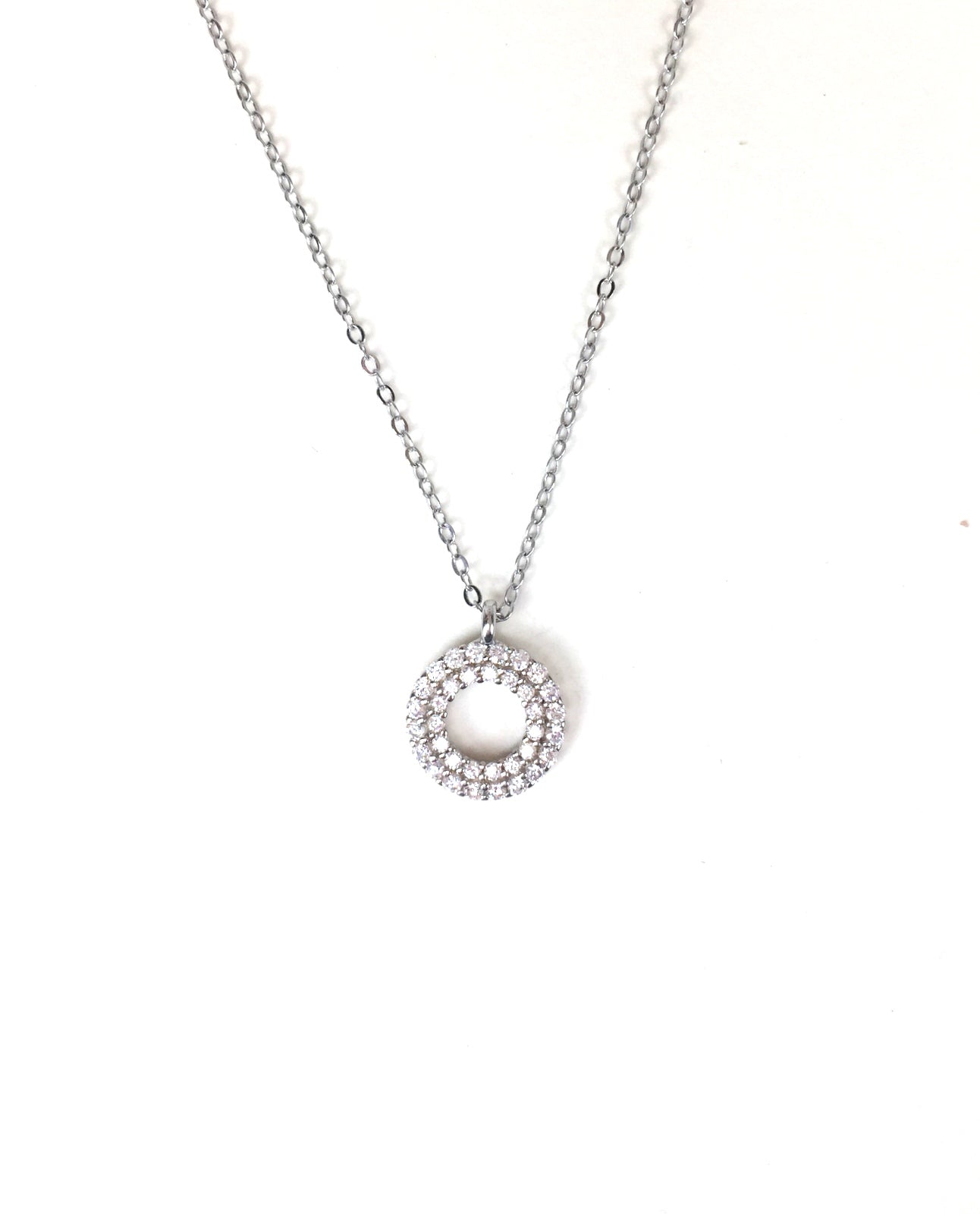 CIRCLE PAVE CZ STERLING SILVER NECKLACE