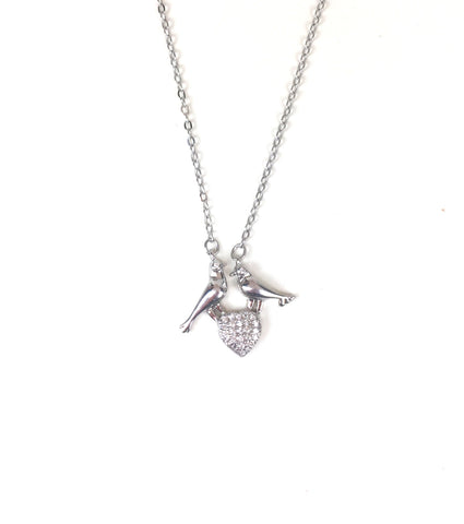 TWO BIRDS AND HEART PAVE CZ STERLING SILVER NECKLACE