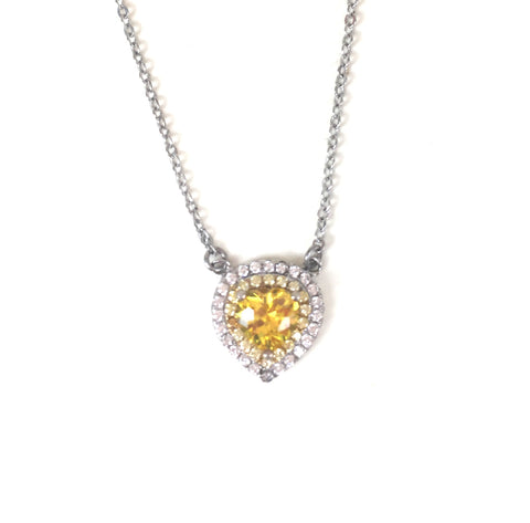 YELLOW HEART PAVE CZ STERLING SILVER NECKLACE