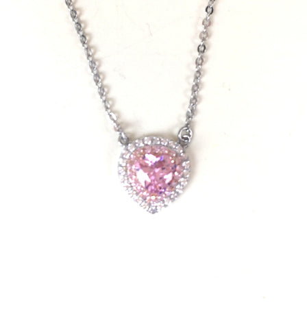 PINK HEART PAVE CZ STERLING SILVER NECKLACE