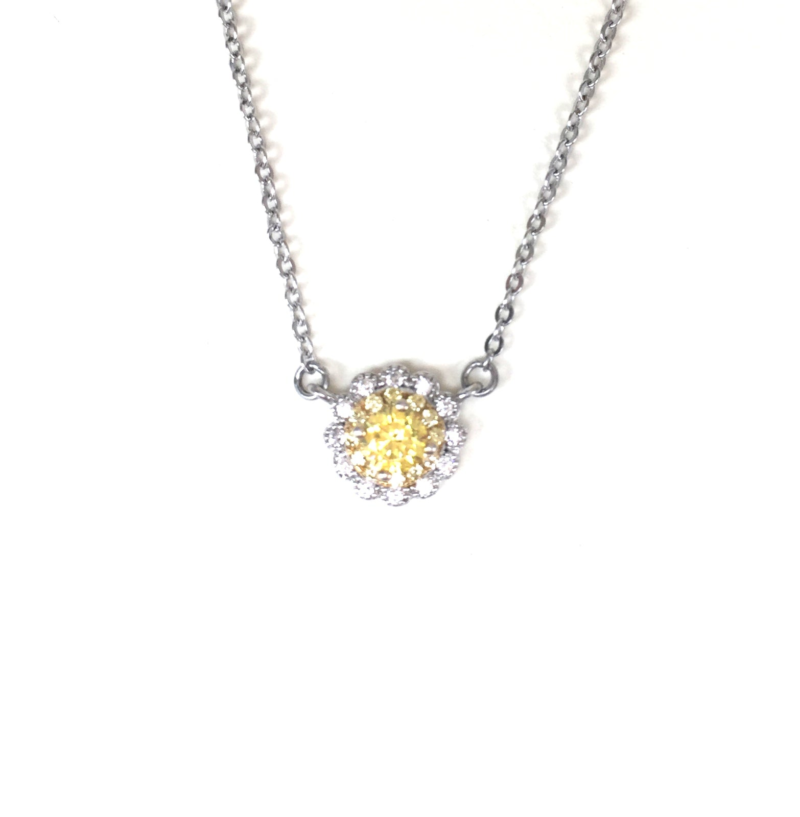 CLASSIC YELLOW STONE PAVE CZ STERLING SILVER NECKLACE