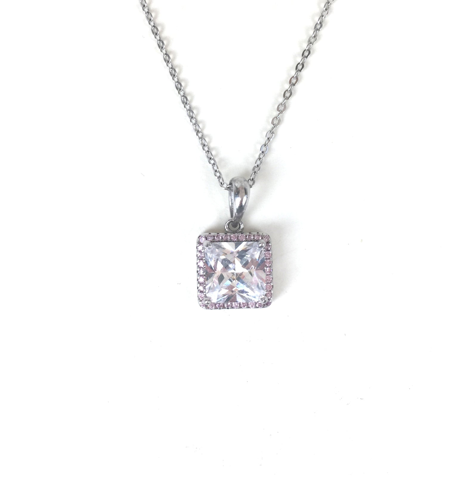 CLASSIC SQUARE PAVE CZ STERLING SILVER NECKLACE