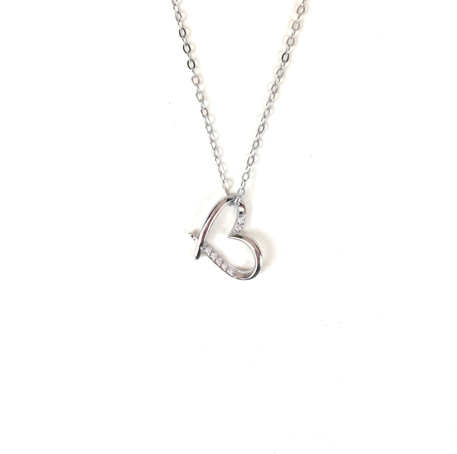 SIMPLE HEART PAVE CZ STERLING SILVER NECKLACE
