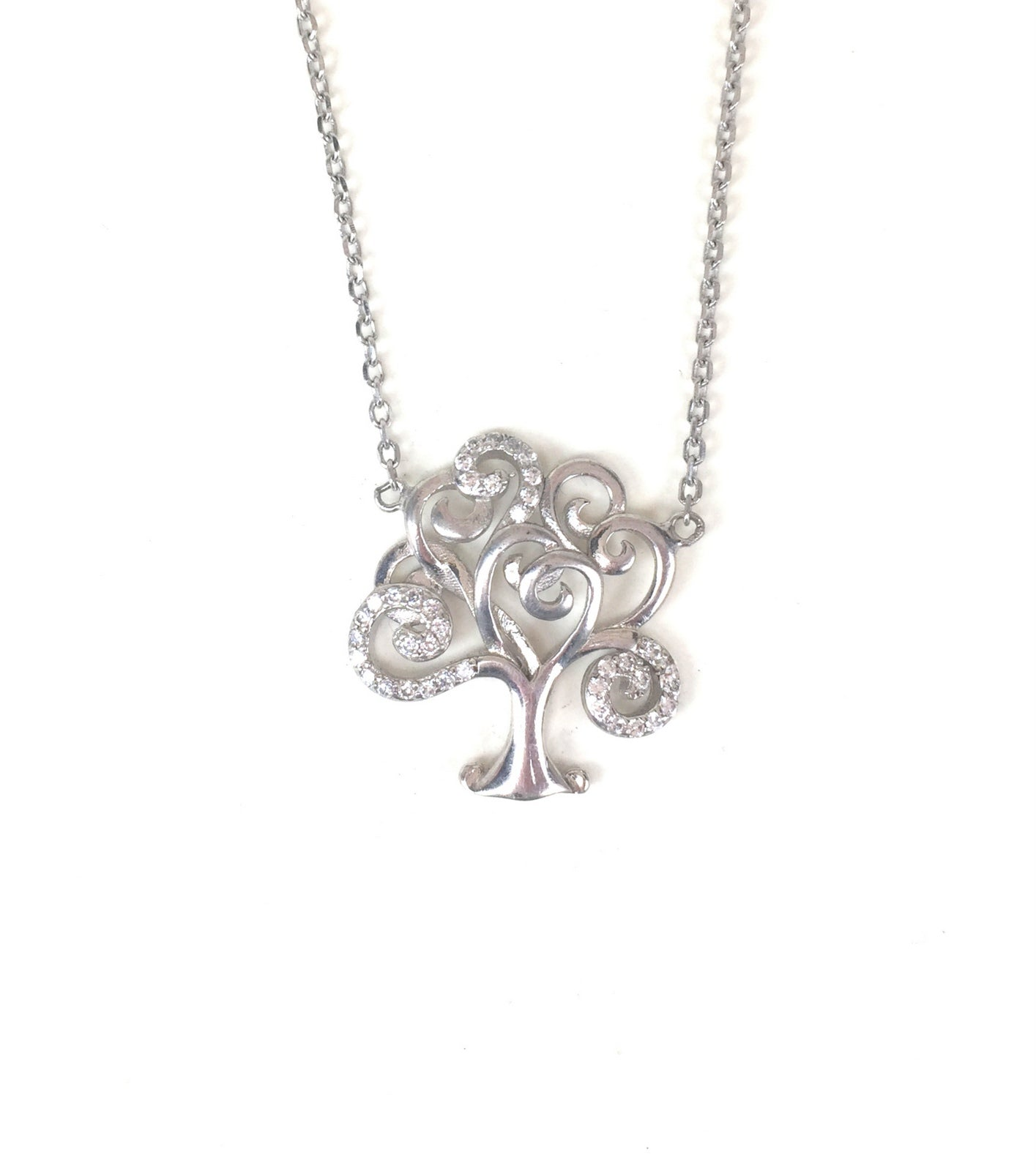 TREE PAVE CZ STERLING SILVER NECKLACE