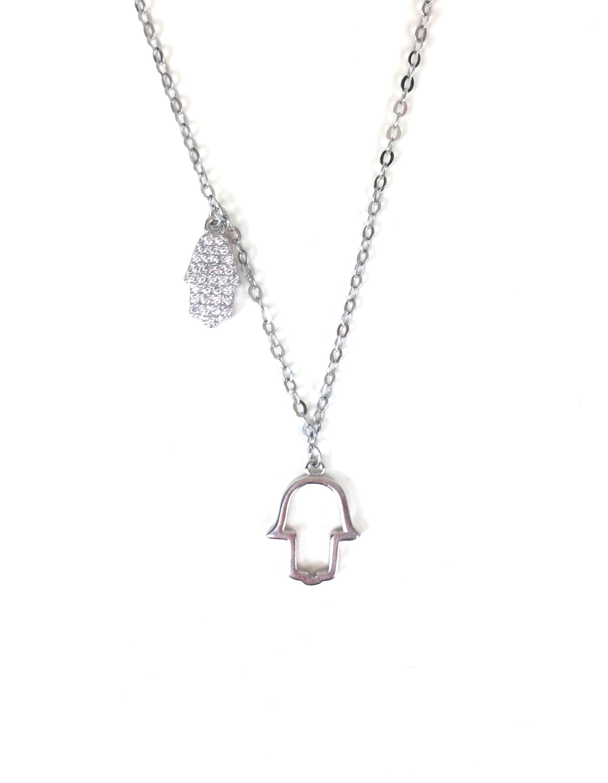 TWO HAMSA HANDS PAVE CZ STERLING SILVER NECKLACE