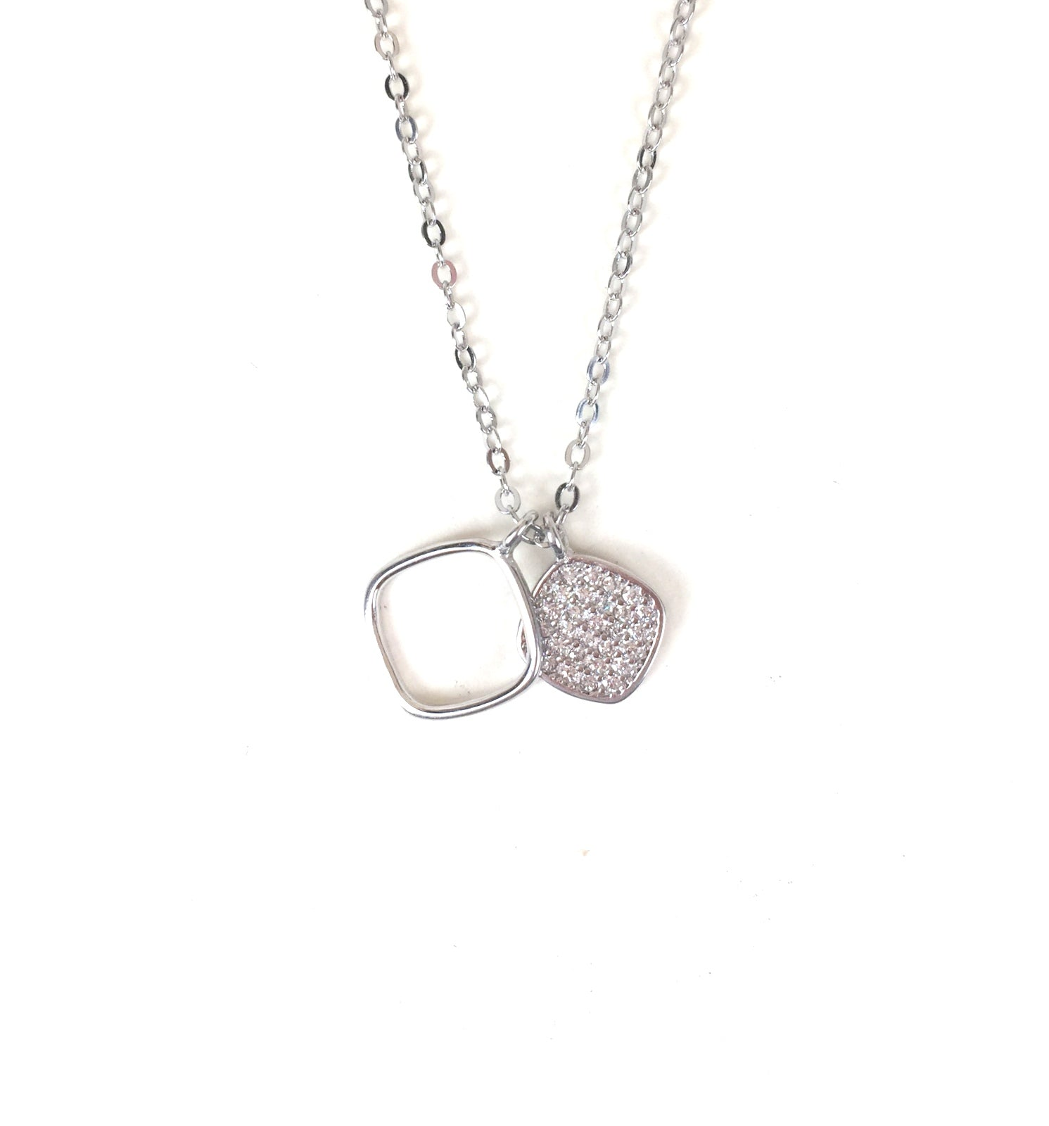 TWO SQUARE PAVE CZ STERLING SILVER NECKLACE