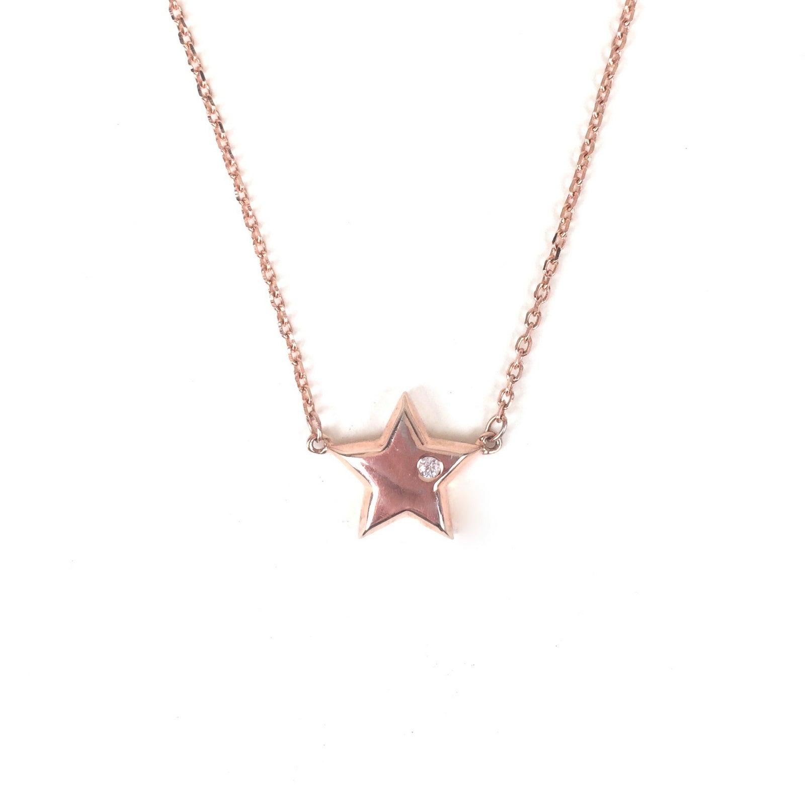 ROSE GOLD STAR STERLING SILVER NECKLACE
