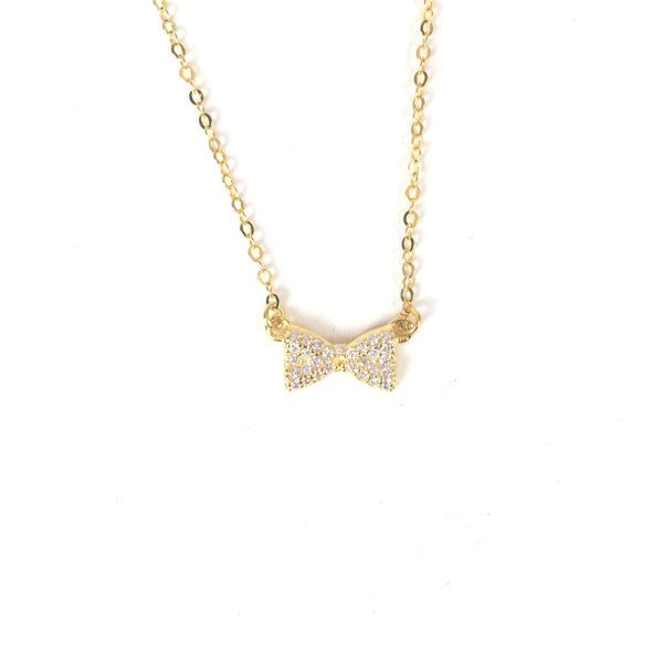 BOW PAVE CZ STERLING SILVER NECKLACE