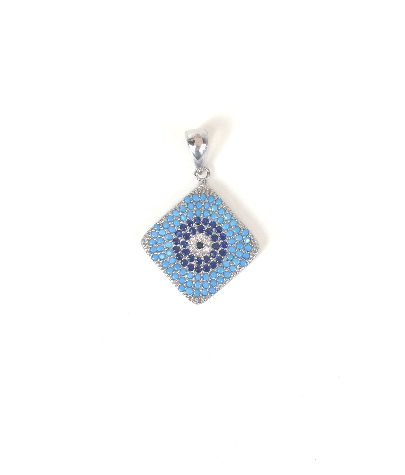 SQUARE TURQUOISE DISK PAVE CZ STERLING SILVER PENDANT