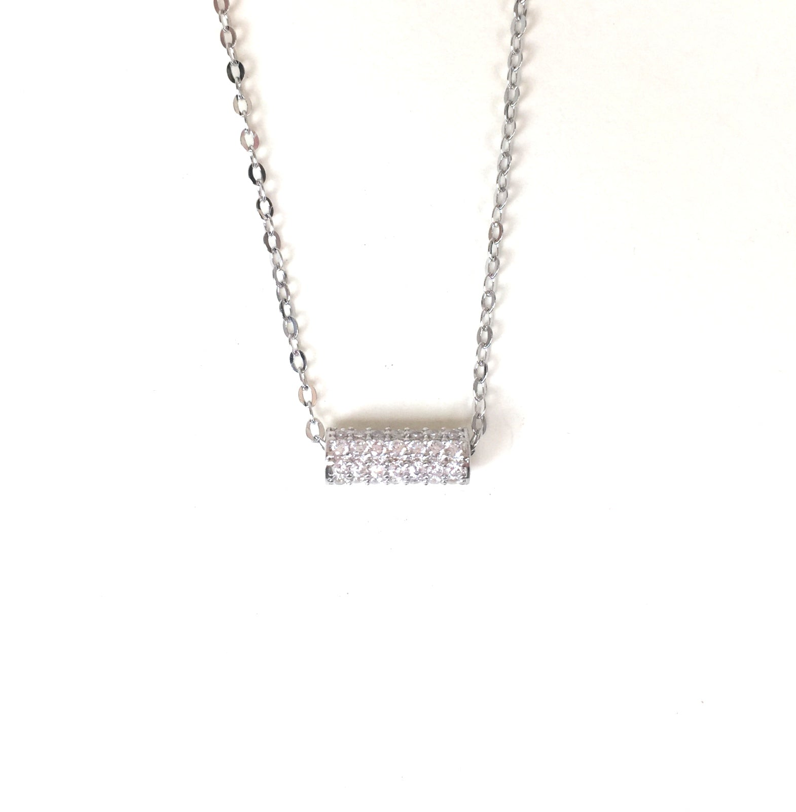 SHORT PIPE PAVE CZ STERLING SILVER NECKLACE