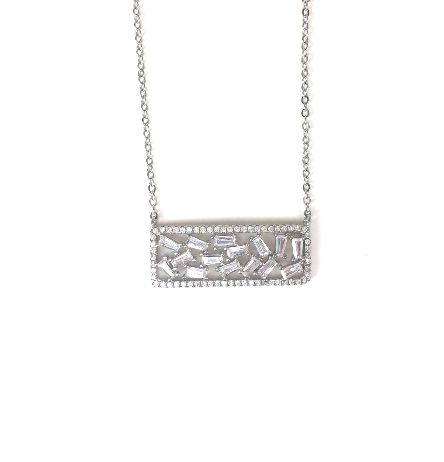 SPARKLING HORIZONTAL DECORATED BAR PAVE CZ STERLING SILVER NECKLACE
