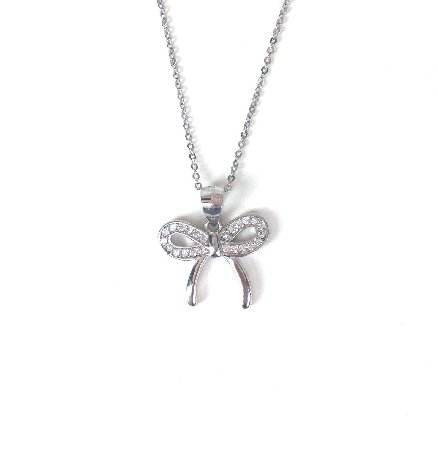 SPARKLING BOW PAVE CZ STERLING SILVER NECKLACE