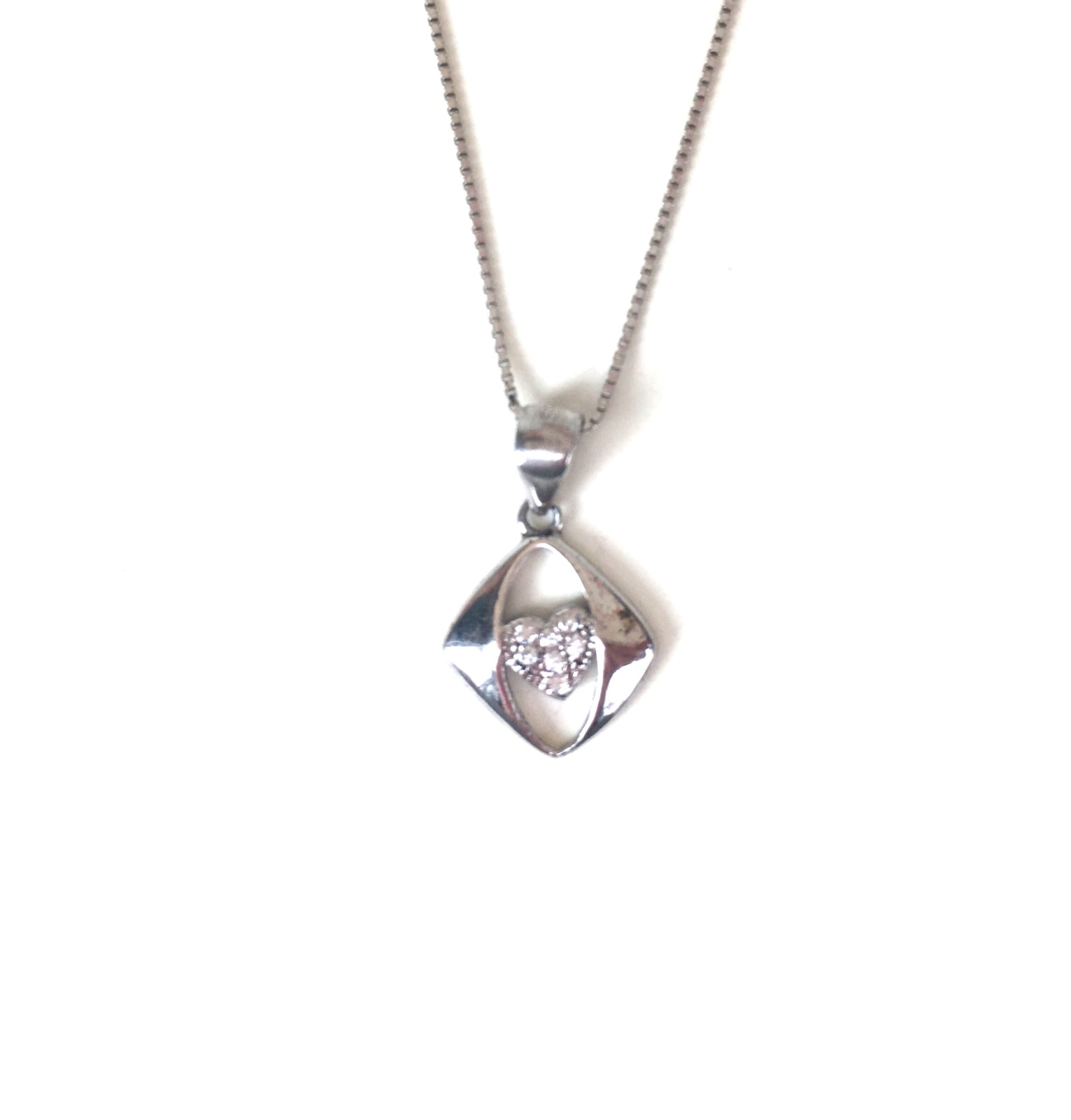 HEART INSIDE PAVE CZ STERLING SILVER NECKLACE