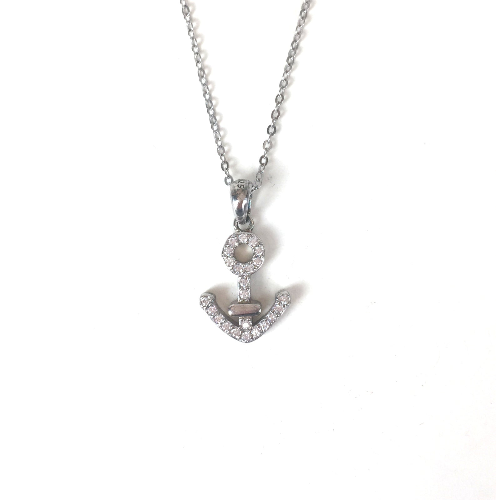 SPARKLING ANCHOR PAVE CZ STERLING SILVER NECKLACE
