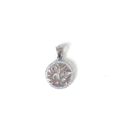TREE OF LIFE PAVE CZ STERLING SILVER PENDANT