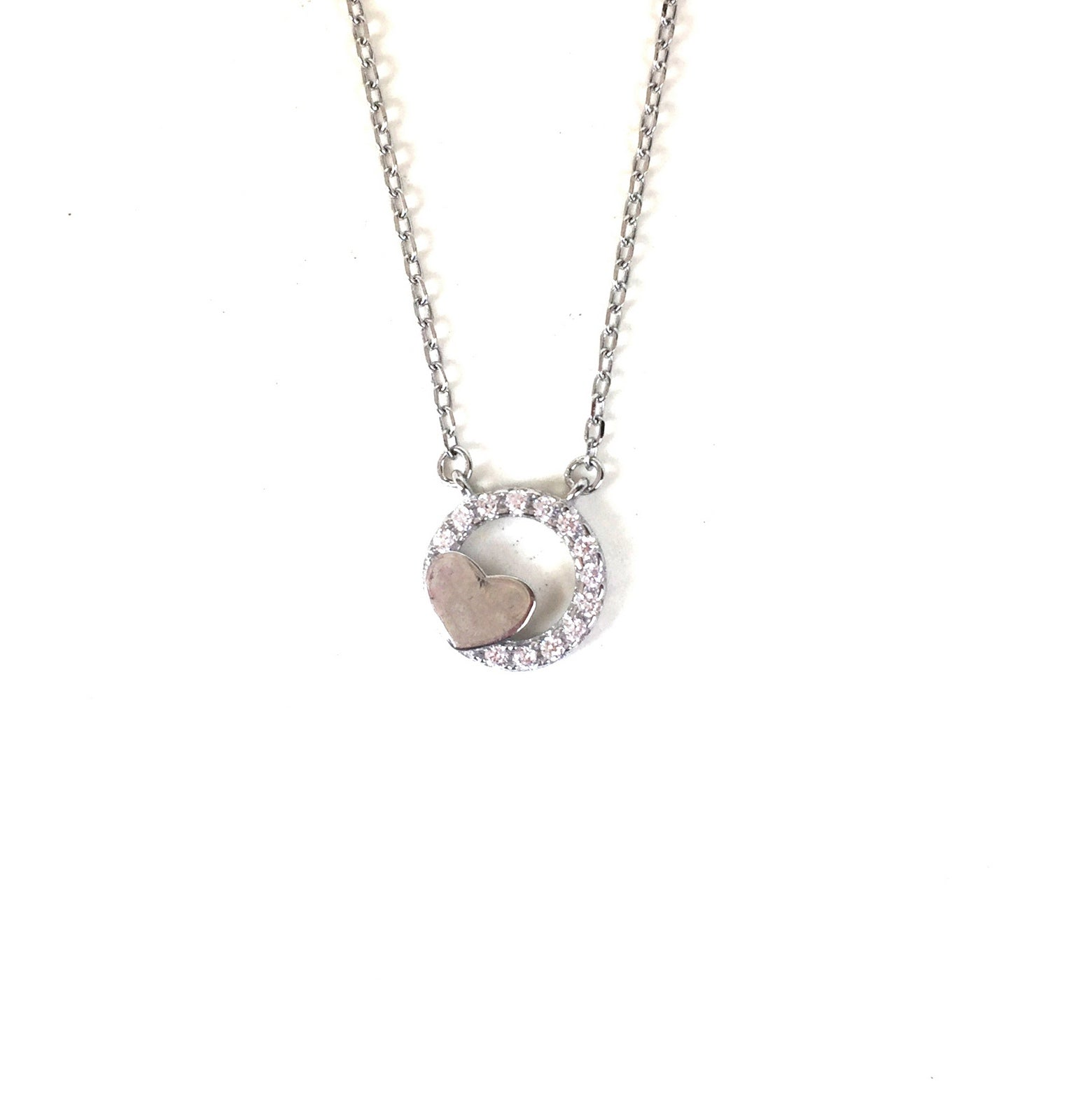 HEART AND CIRCLE PAVE CZ STERLING SILVER NECKLACE