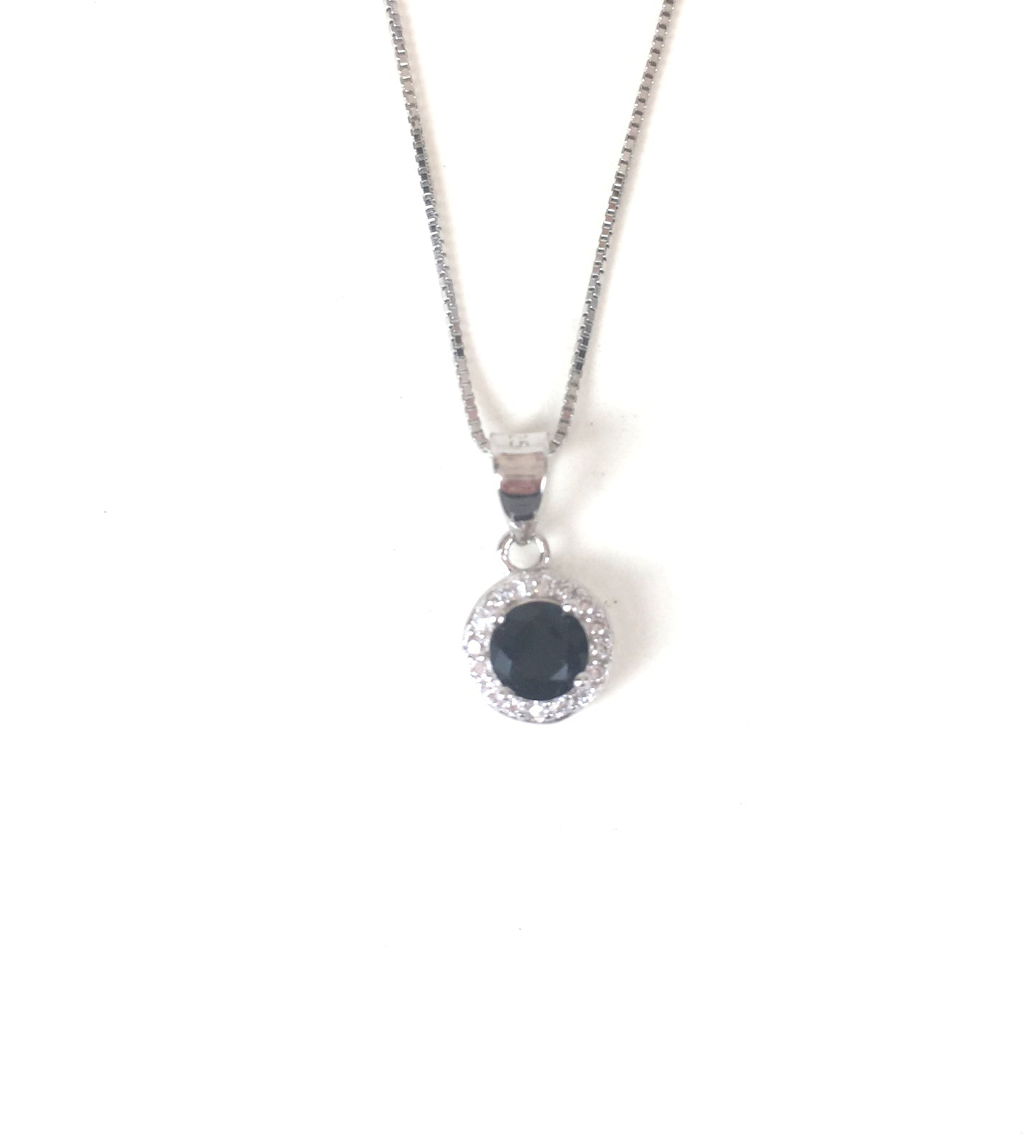 SMALL BLACK CRYSTAL PAVE CZ STERLING SILVER NECKLACE