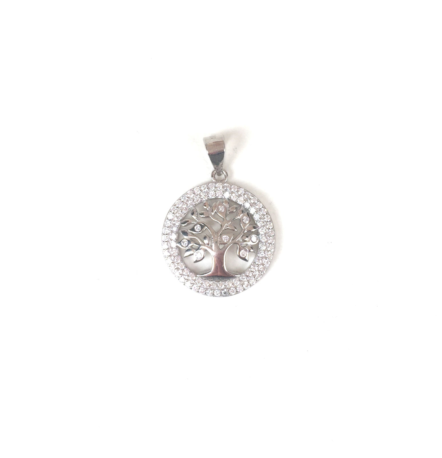 SPARKLING TREE OF LIFE PAVE CZ STERLING SILVER PENDANT
