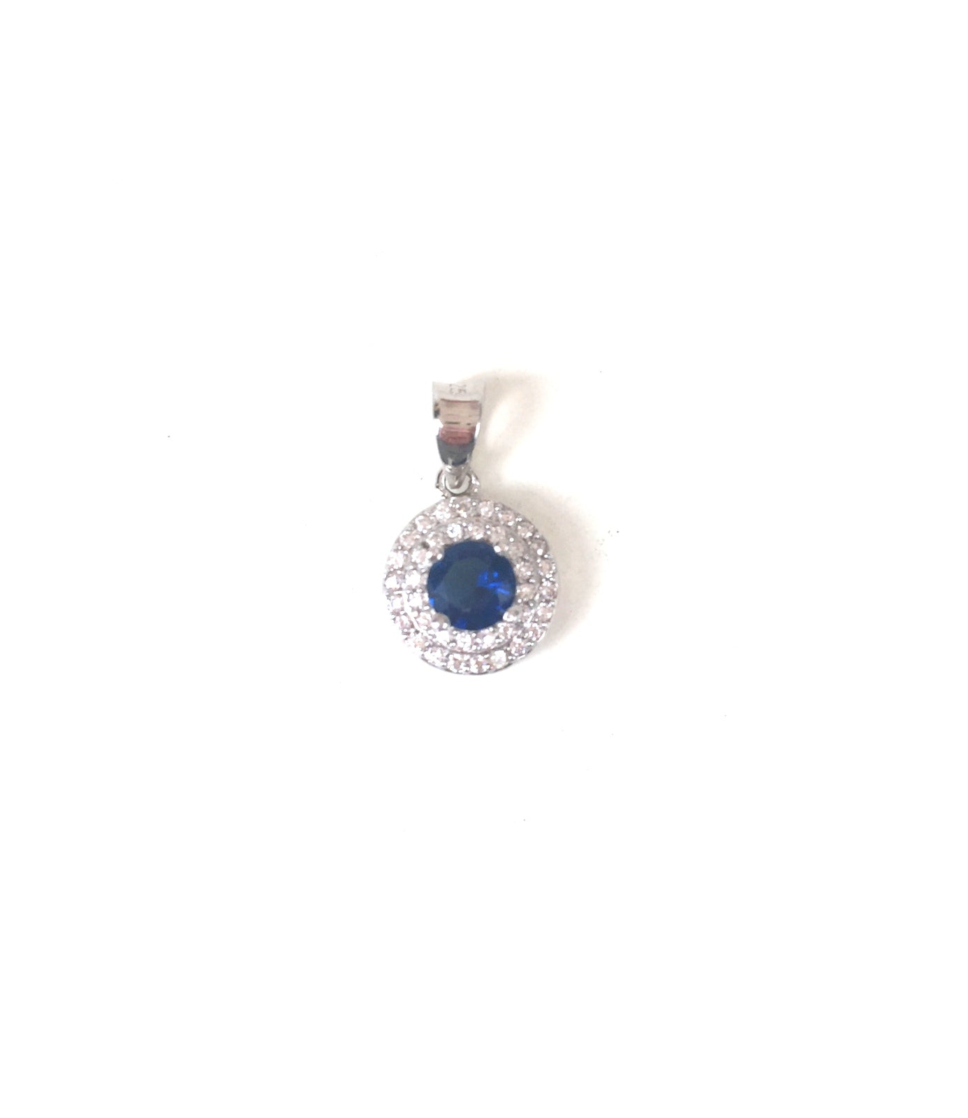CLASSIC DARK BLUE PAVE CZ STERLING SILVER PENDANT