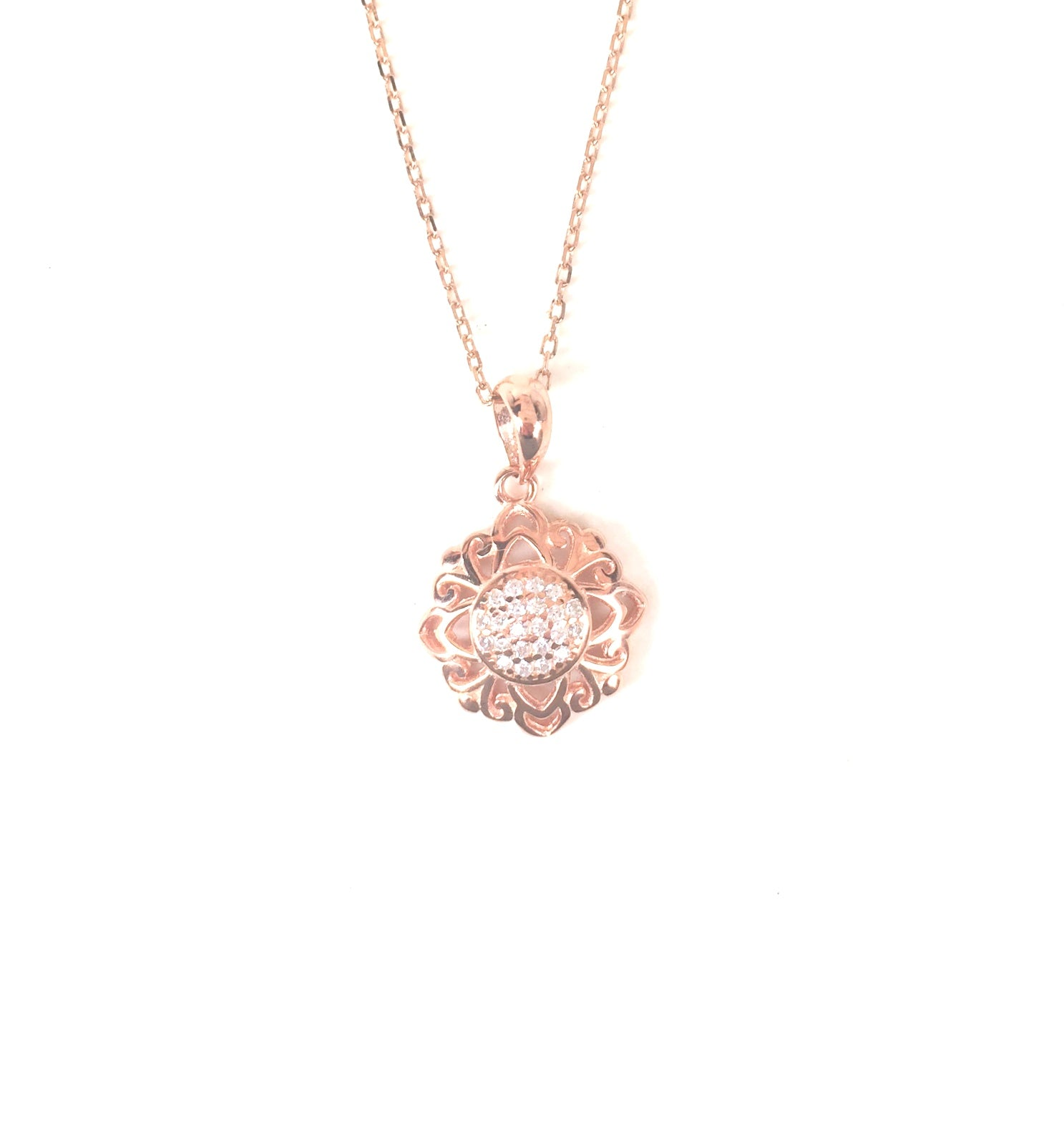 ROSE GOLD FLOWER PAVE CZ STERLING SILVER NECKLACE