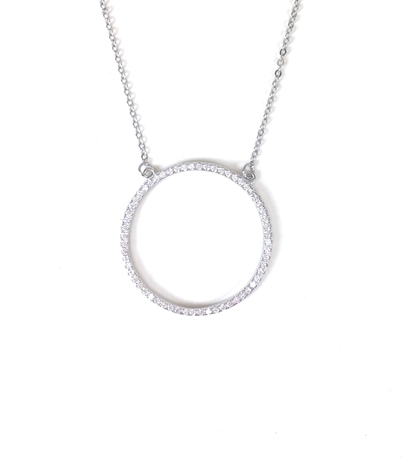 BIG CIRCLE PAVE CZ STERLING SILVER NECKLACE